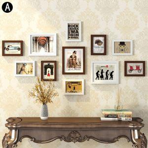 壁掛けフォトフレーム 写真立てセット 額縁 フォトデコレーション 木製 11個セット P11A