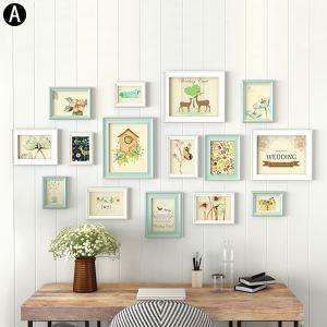 壁掛けフォトフレーム 写真立てセット 額縁 フォトデコレーション 木製 15個セット YO15