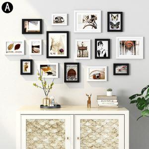 壁掛けフォトフレーム 写真立てセット 額縁 フォトデコレーション 木製 15個セット P15A