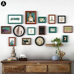 壁掛けフォトフレーム 写真立てセット 額縁 フォトデコレーション 木製 15個セット YMQZPQ015
