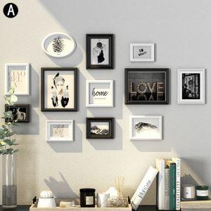 壁掛けフォトフレーム 写真立てセット 額縁 フォトデコレーション 木製 12個セット YMQZPQ012