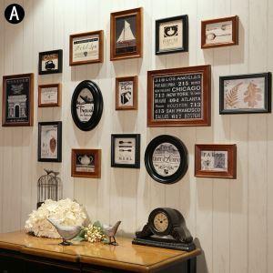 壁掛けフォトフレーム 写真立てセット 額縁 フォトデコレーション 木製 16個セット 20130609
