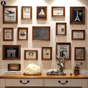 壁掛けフォトフレーム 写真立てセット 額縁 フォトデコレーション 木製 15個セット オシャレ