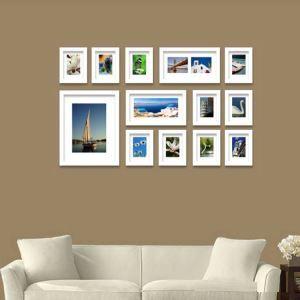 壁掛けフォトフレーム 写真用額縁 フォトデコレーション 白色 13個セット 複数枚