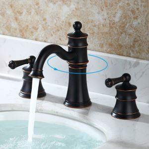洗面蛇口 バス水栓 冷熱混合栓 手洗器蛇口 水道蛇口 2ハンドル 置き型 3点 ORB HAY