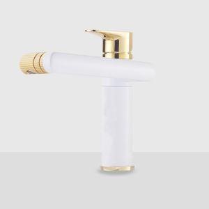 洗面蛇口 バス水栓 冷熱混合栓 水道蛇口 回転可能 白色 H20cm