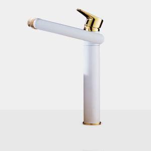 洗面蛇口 バス水栓 冷熱混合栓 水道蛇口 回転可能 白色 H30cm