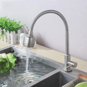 キッチン蛇口 台所蛇口 単水栓 整流&シャワー吐水式 360°回転 ヘアライン