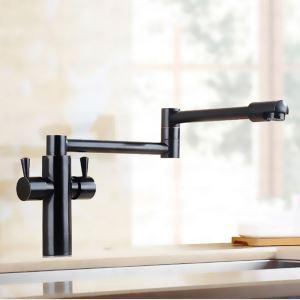 壁付水栓 キッチン蛇口 冷熱混合栓 台所蛇口 折畳み式 2ハンドル 黒色
