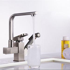 洗面蛇口 バス水栓 キッチン蛇口 冷熱混合栓 引出し式水栓 水道蛇口 2ハンドル ヘアライン H25cm