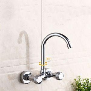 壁付蛇口 キッチン水栓 台所蛇口 冷熱混合栓 水道蛇口 2ハンドル 360°回転 クロム