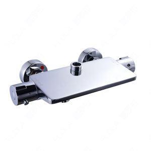 壁付サーモスタット混合栓 浴室シャワー混合栓 バス水栓 水栓金具 クロム(ハンドシャワー無し)