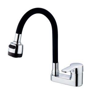 洗面蛇口 バス水栓 冷熱混合栓 立水栓 水道蛇口 整流&シャワー吐水式 360°回転 黒色
