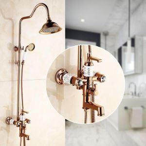 浴室シャワー水栓 レインシャワーシステム バス水栓 ヘッドシャワー+ハンドシャワー+蛇口 混合栓 ローズゴールデン 花柄