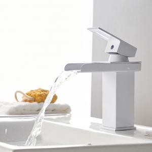 洗面蛇口 バス水栓 冷熱混合栓 水道蛇口 立水栓 滝状吐水式 白色 H17cm