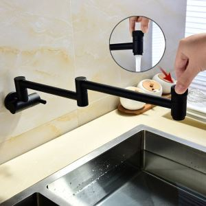 壁付水栓 キッチン蛇口 単水栓 台所蛇口 折畳み式 2ハンドル 黒色