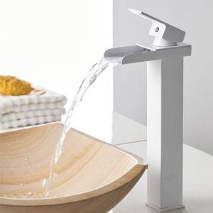 洗面蛇口 バス水栓 冷熱混合栓 水道蛇口 滝状吐水式 白色 H31cm