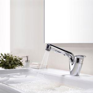 洗面蛇口 バス水栓 キッチン蛇口 引出し式水栓 冷熱混合栓 整流&シャワー吐水式 クロム