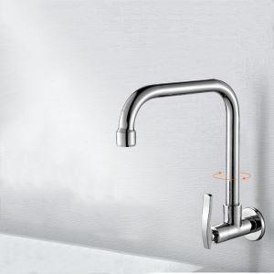 壁付蛇口 キッチン水栓 台所蛇口 単水栓 水道蛇口 360°回転 クロム