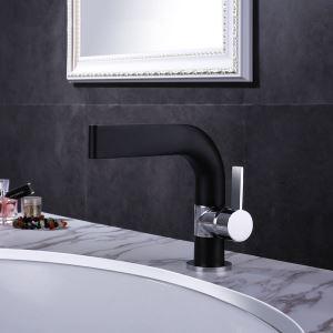 洗面蛇口 バス水栓 冷熱混合栓 立水栓 水道蛇口 黒色&クロム