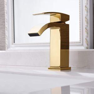 洗面蛇口 バス水栓 冷熱混合栓 立水栓 水道蛇口 滝状吐水式 金色