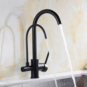 キッチン蛇口 台所蛇口 浄水器用水栓 冷熱混合栓 2吐水口 2ハンドル 360°回転 黒色