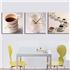 壁掛け時計 壁絵画時計 静音時計 壁飾り オシャレ 3枚パネル コーヒーカップ