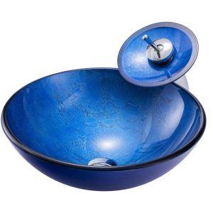 洗面ボウル&蛇口セット 手洗い鉢 洗面器 手洗器 洗面ボール 洗面鉢 ガラス 排水金具付 青色 BWY1717