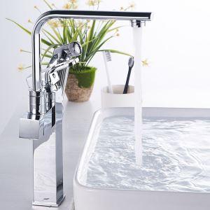 洗面蛇口 バス水栓 キッチン蛇口 引出し式水栓 冷熱混合栓 水道蛇口 2ハンドル クロム H35cm