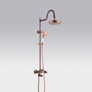 浴室シャワー水栓 レインシャワーシステム バス水栓 ヘッドシャワー+ハンドシャワー+蛇口 混合栓 ローズゴールデン