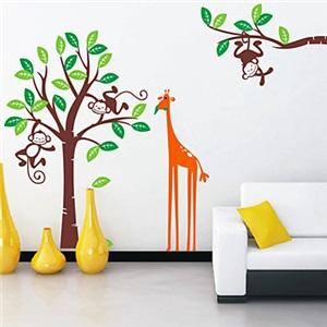 ウォールステッカー 転写式ステッカー PVCシール 壁紙シート 剥がせる 猿&キリン&木