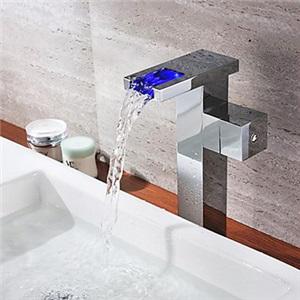 3色LEDバス・洗面蛇口 水流発電 温度センサー付(高さ)