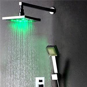 3色LED埋込形シャワー水栓 LEDレインシャワーヘッド+LEDハンドシャワー クロム