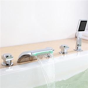 3色LED浴槽蛇口 3ハンドル混合水栓 滝状吐水口 ハンドシャワー付