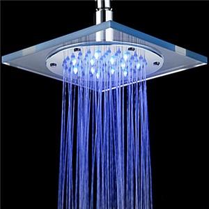 7色LEDヘッドシャワー レインシャワー水栓 20cm