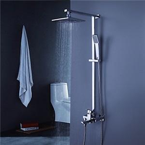 レインシャワーシステム シャワーバー バス水栓 ヘッドシャワー+ハンドシャワー+蛇口 混合栓 クロム