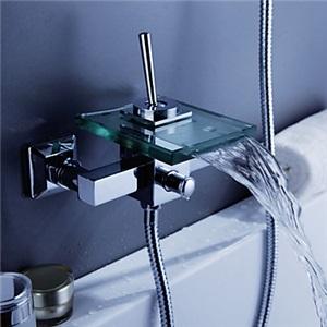 浴槽水栓 滝状吐水式 ガラスの注ぎ口 (壁式)