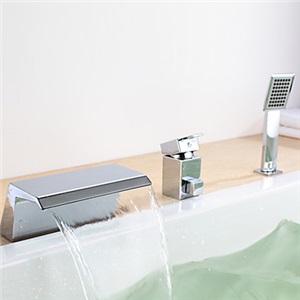 浴槽水栓 シャワー水栓 ハンドシャワー付き 滝状吐水口