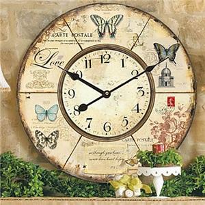 壁掛け時計 植物&動物柄 アンティーク調