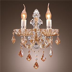 壁掛けライト ウォールランプ クリスタル照明 エレガント 琥珀色 2灯