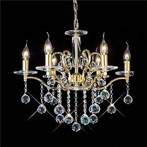 シャンデリア 天井照明 照明器具 クリスタル付 豪華 金色 6灯