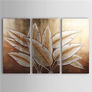 油絵画 手描き植物画 装飾絵画 銀箔柄 フレームなし 3枚入り