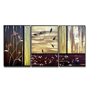 油絵画 手描き植物画 3個セット