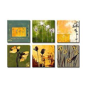 油絵画 手描き植物画 6個セット