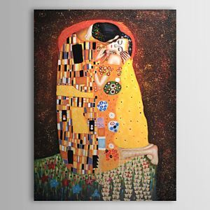 油絵画 グスタフ・クリムトの手描き「KISS」画