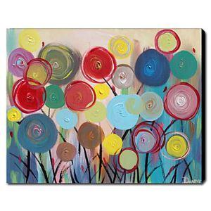 油絵画 手描き抽象画 花柄画 1211-AN0086
