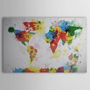 油絵画 手描き抽象画 世界地図画 1211-AB0121