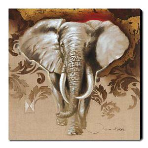 油絵画 手描き動物画 象 1211-AN0058