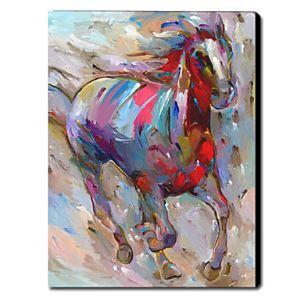 油絵画 手描き動物画 馬 1211-AN0032