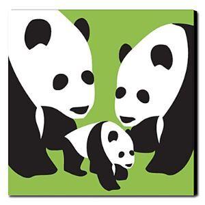 油絵画 手描き動物画 ファン・ゴッホの手描き「パンダ家族」画1211-AN0018